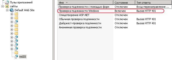 Настройка аутентификации при публикации web сервиса 1С в IIS