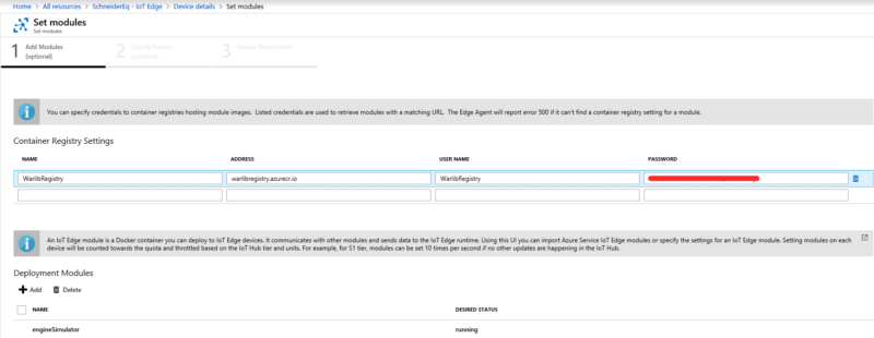 Авторизация в контейнере Azure для развертывания собственных модулей.