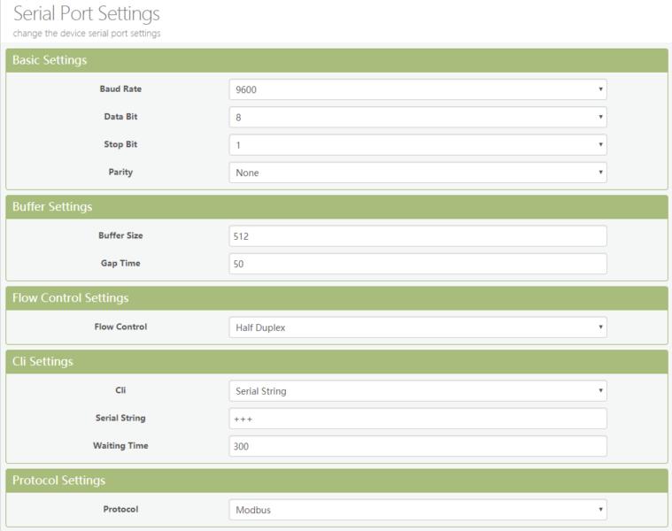 Elfin EW11 Modbus TCP Serial Port settings