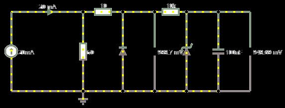 Результаты моделирования работы простейшего преобразователя тока в напряжение для замера АЦП микроконтроллером