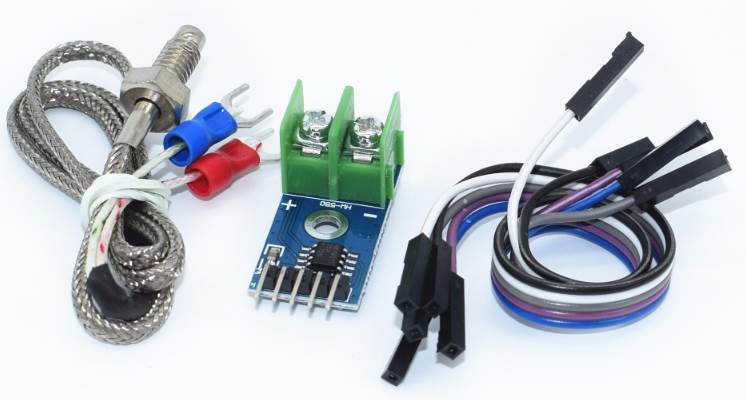 The MAX6675 Module for connecting the K-Type thermocouple to the  SPI Bus Microcontroller