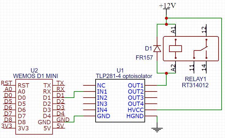 Подключение 4-х канального оптоизолятора TLP281-4 к реле и ESP8266